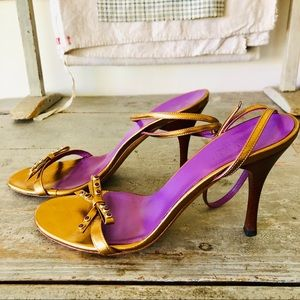 Gucci Shoes - ❤️ Gucci ❤️ Purple & Gold Strappy Heels